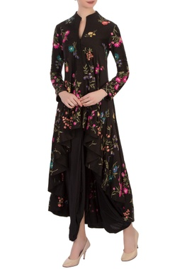 black floral embroidered kurta & dhoti