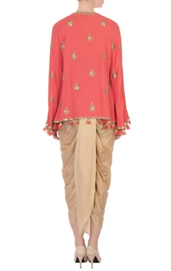 coral pink georgette silk cape & cowl pants