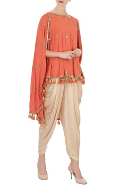 orange georgette cape & cowl pants
