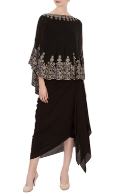 black aari work cape & dhoti skirt