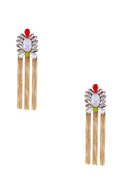 gold plated earrings with dangling chains