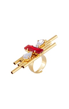 gold plated ring with red swarovski crystals