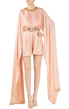 peach satin cape with high-waist shorts