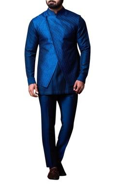 Kunal Anil Tanna - Men Blue asymmetric bandhi jacket set