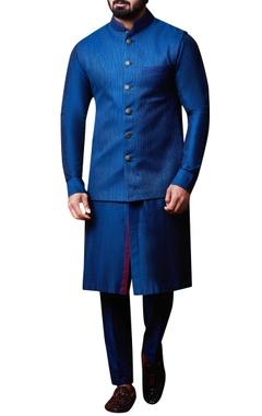 Kunal Anil Tanna - Men Teal blue bandhi jacket set