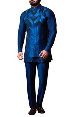 Kunal Anil Tanna - Men Blue spun silk patchwork jacket set