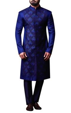 Kunal Anil Tanna - Men Blue patchwork style achkan