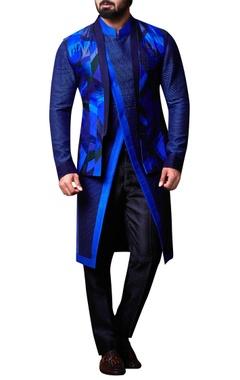 Kunal Anil Tanna - Men Blue patchwork nehru jacket set