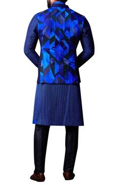 Blue patchwork nehru jacket set