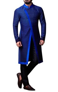 blue spun silk overlap bandhgala set