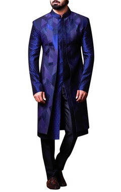 Kunal Anil Tanna - Men Blue patchwork achkan & pants