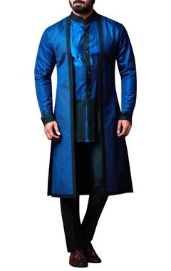 Kunal Anil Tanna - Men Blue layered shirt collar kurta