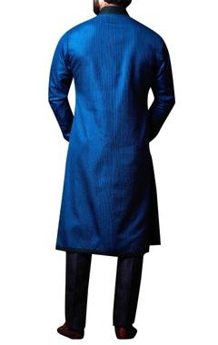 Blue layered shirt collar kurta