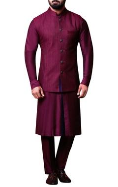 Kunal Anil Tanna - Men Plum purple bandhi jacket set