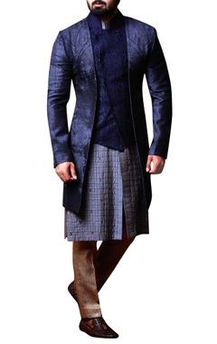 grey & blue spun silk kurta set