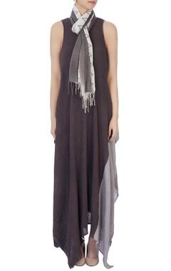 Ecru beige & grey hand woven scarf