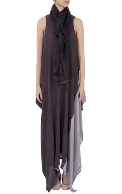 grey sheer linen silk scarf