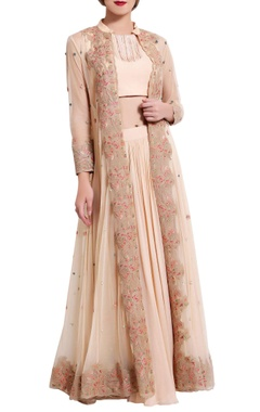 peach thread work crop top and skirt with jacket