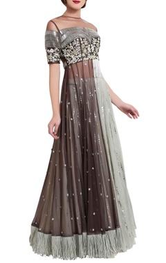grey zardozi crop top and skirt