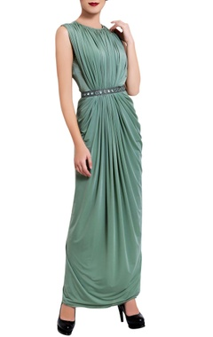 Vedangi Agarwal Sea green mirror draped dress
