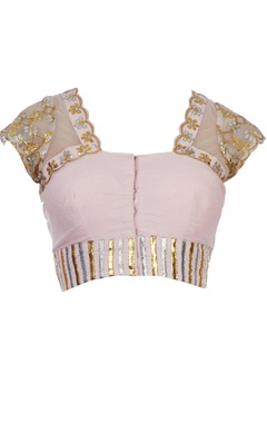 Baby pink cotton silk & net gota work blouse