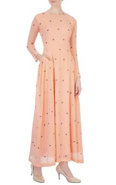 tangerine polka dot hand-woven maxi dress