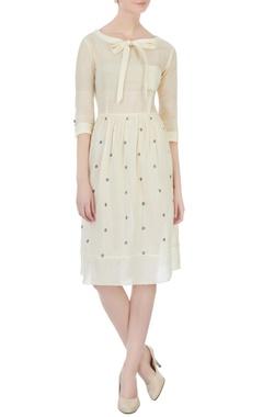 Sayantan Sarkar Cream polka dot jamdani dress