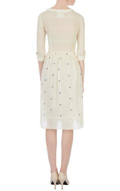 Cream polka dot jamdani dress