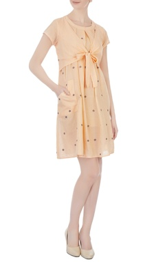 Sayantan Sarkar Orange polka dot jamdani dress
