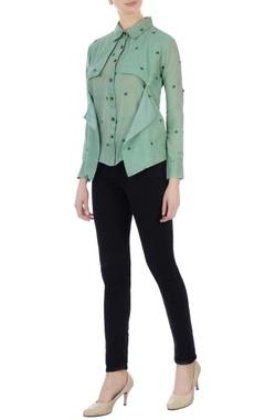 Sayantan Sarkar Green collar shirt with attached layer