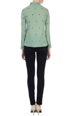 Green collar shirt with attached layer