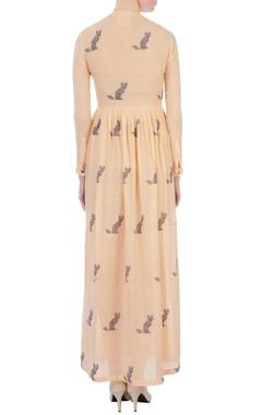 Tangerine cat motif printed maxi dress