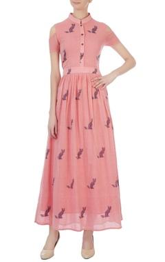 pink jamdani cold shoulder maxi dress