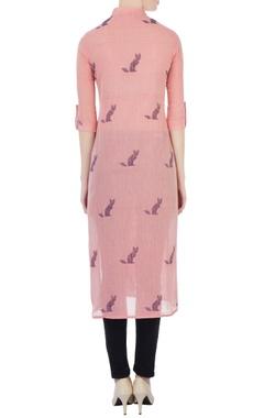 pink hand-woven cat motif jamdani tunic
