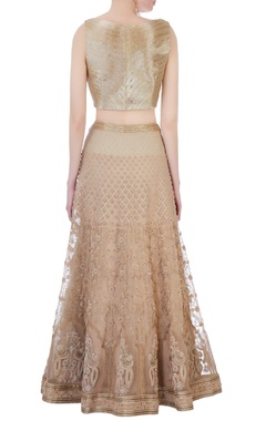 beige silk, organza & chanderi 3d embroidered lehenga set