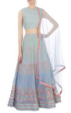 lilac silk, organza & chanderi 3d embroidered lehenga set
