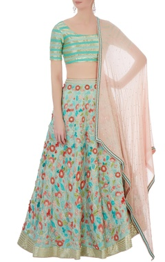 mint green & peach silk & cotton chanderi 3d embroidered lehenga set