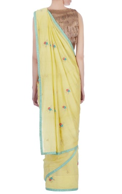 yellow silk & cotton chanderi embroidered sari