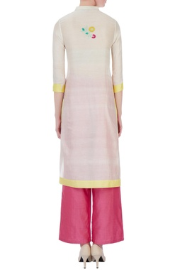 white & pink silk & cotton chanderi straight kurta set