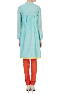 blue silk & cotton chanderi embroidered angrakha kurta