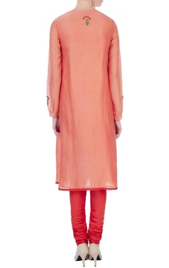 peach & red silk & cotton chanderi anarkali set