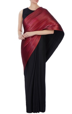 black & metallic red polyester jersey & metal wire sari with blouse