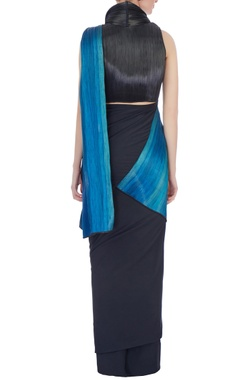 black & metallic blue polyester jersey & metal wire sari with blouse