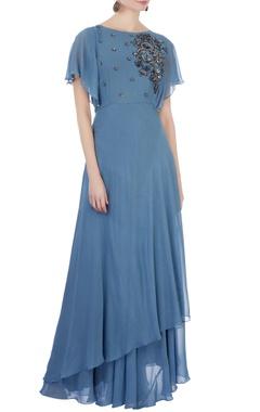 blue georgette moti embellished gown