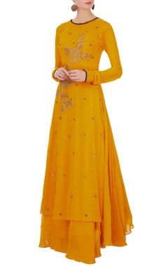 Aksh Yellow georgette kurta with inner maxi