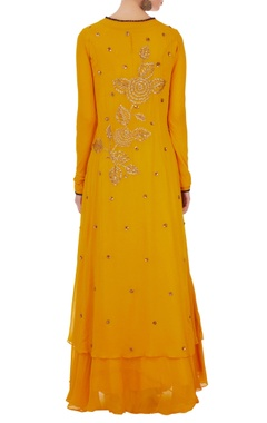 Yellow georgette kurta with inner maxi