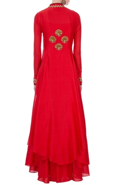 red chanderi cutdana jacket & inner dress