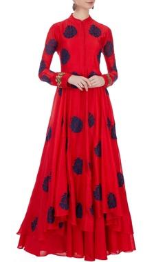 Aksh Red cutdana work jacket & inner maxi