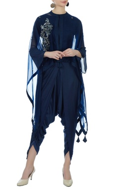 Aksh Blue satin crop top with dhoti & organza cape
