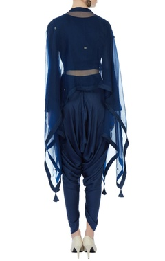 Blue satin crop top with dhoti & organza cape